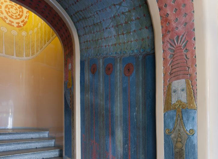 Detail of the decorated walls, Jugend Hall