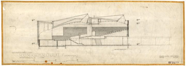 The original drawing of the main building, University of Jyväskylä, the Aalto's Campus