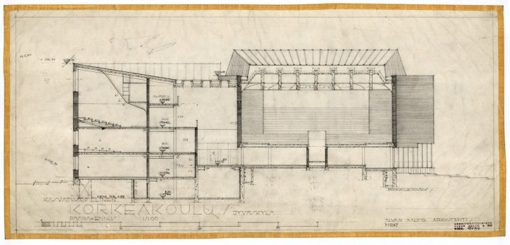 The original drawing of the main building, University of Jyväskylä, the Aalto's Campus