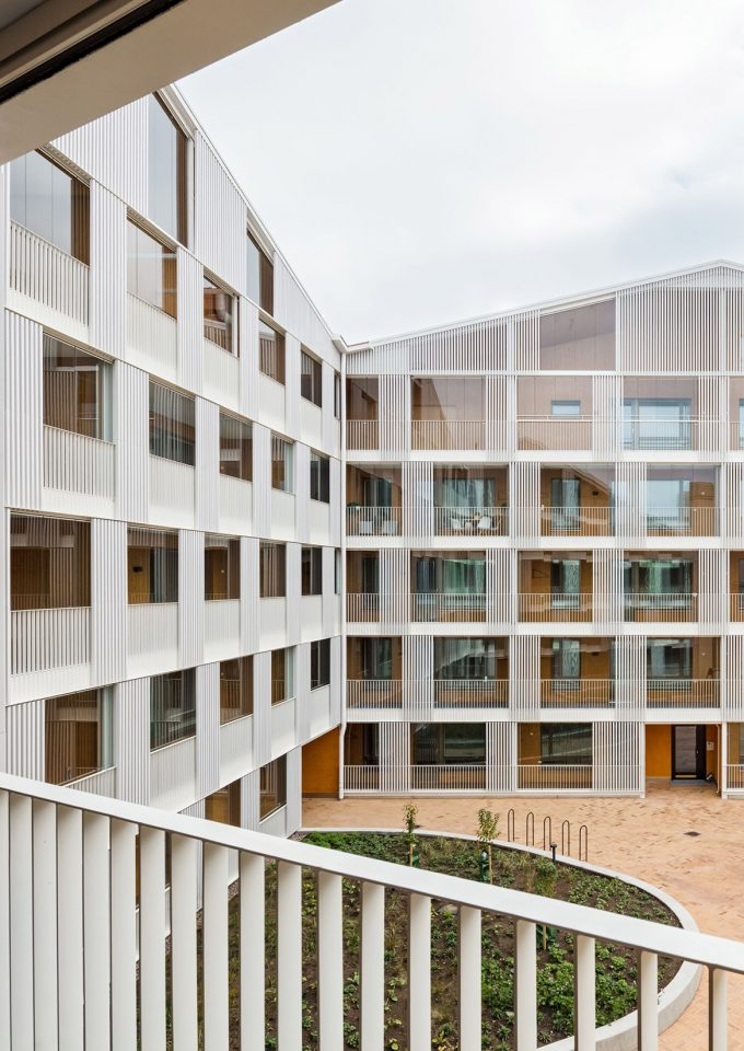 Courtyard elevation, Käpylän Posteljooni Housing