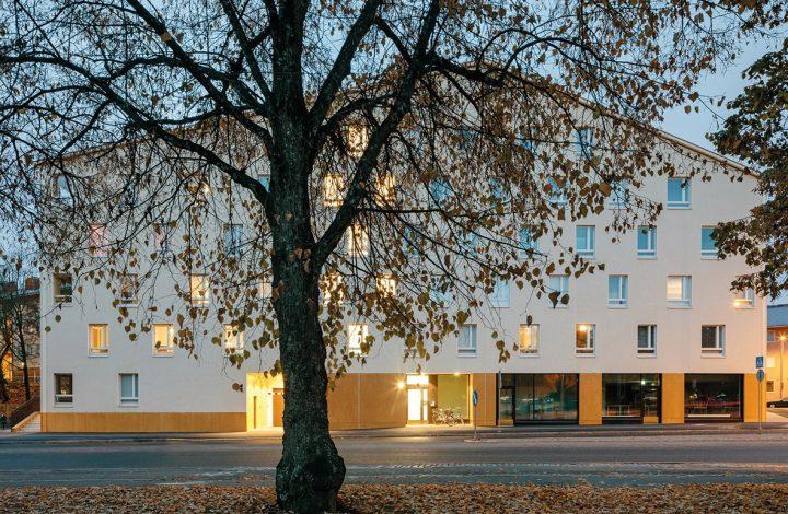 View from Kullervonkatu, Käpylän Posteljooni Housing