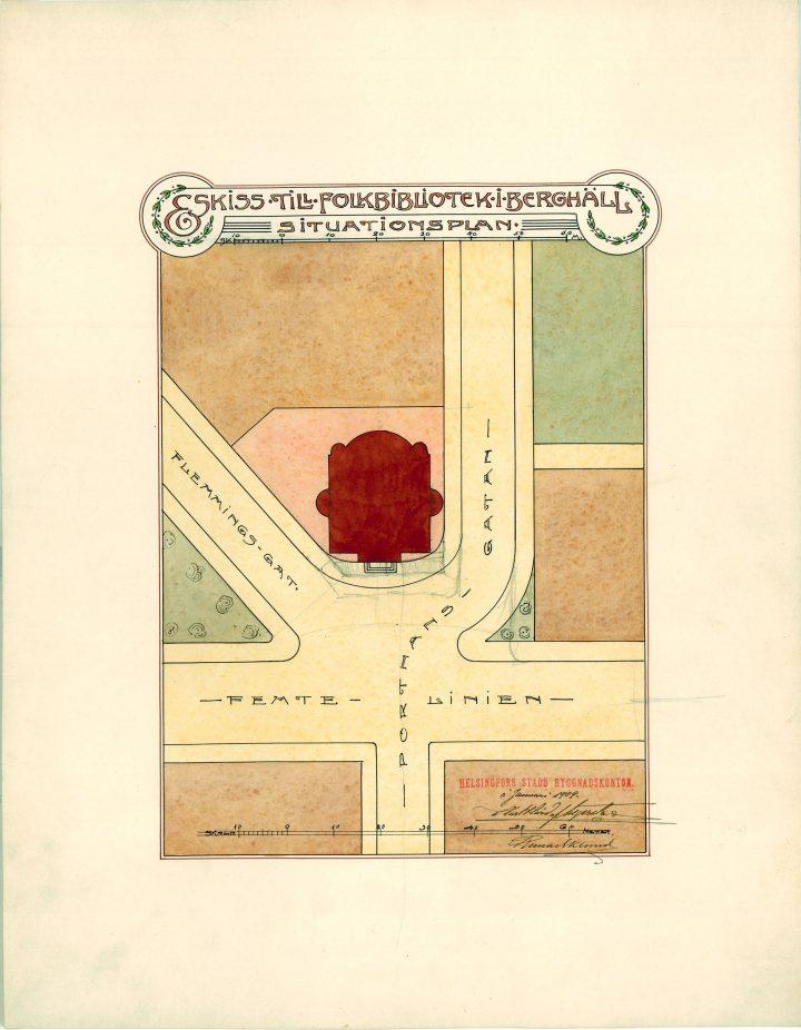 Site plan sketch, Kallio Library