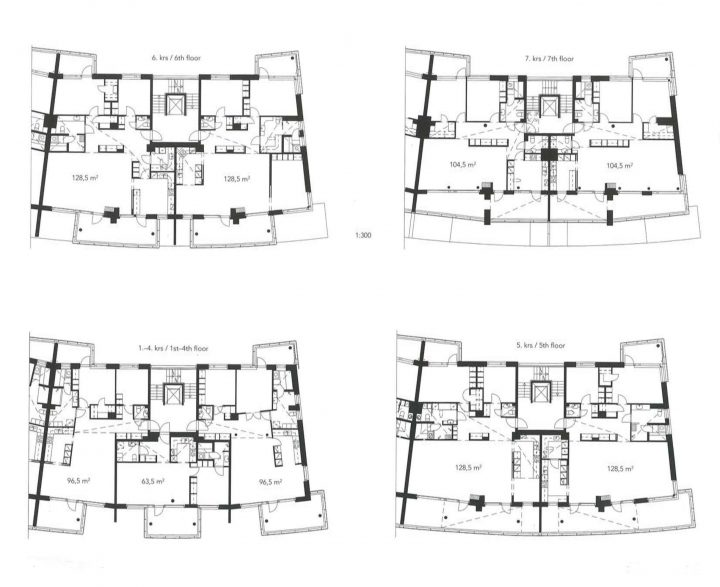 Floor plans, Kesäkatu Housing
