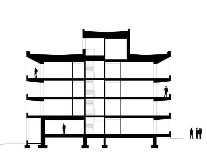 Section plan, Kotisaarenkatu Housing