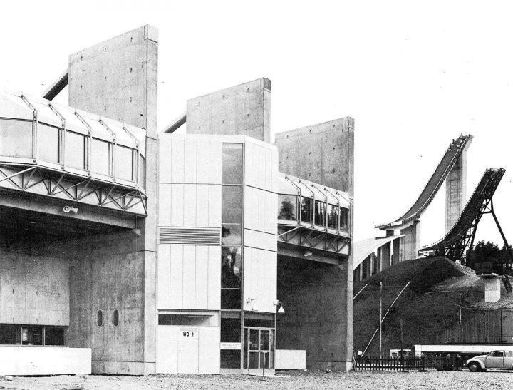 Grandstand and ski jumping towers, Lahti Stadium