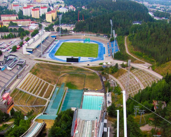 View from the ski jumping tower, Lahti Stadium