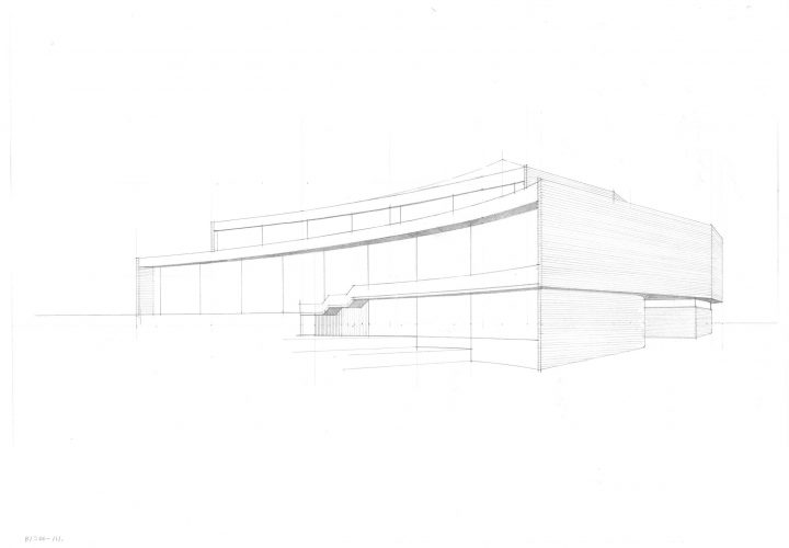 Sketch drawing, Töölö Library
