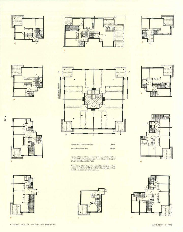 Floor plans, Meritähti Housing