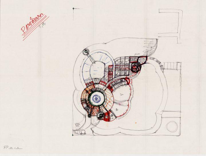 Reima Pietilä's sketch for the mezzanine floor, Tampere Main Library Metso
