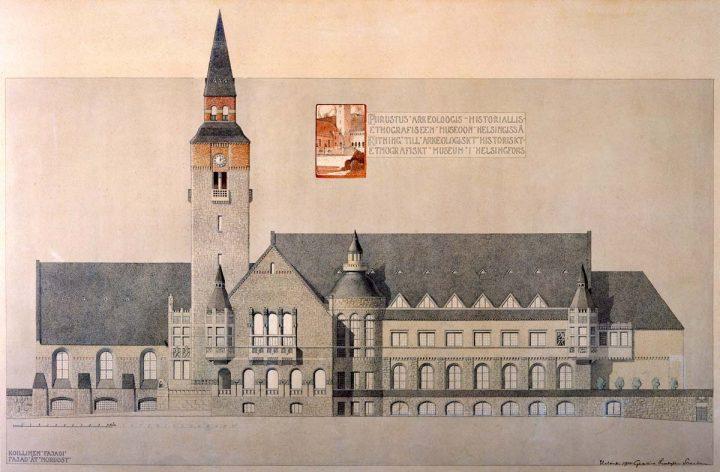 Drawing of northeast elevation facing Mannerheimintie, 1904, National Museum