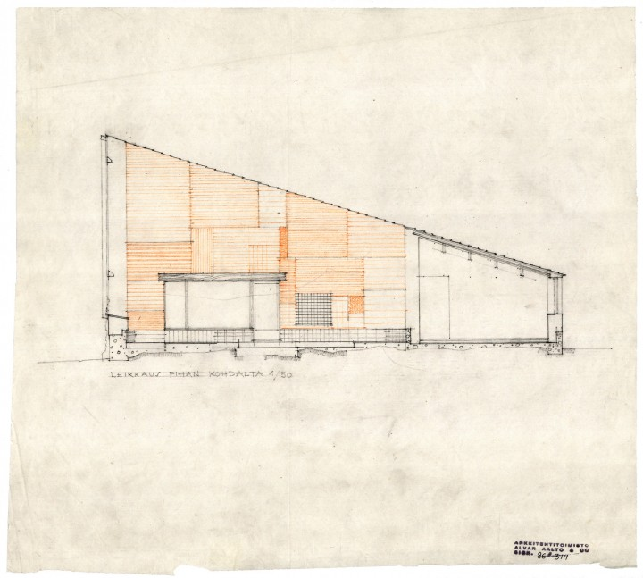 Section and courtyard elevation, Muuratsalo Experimental House