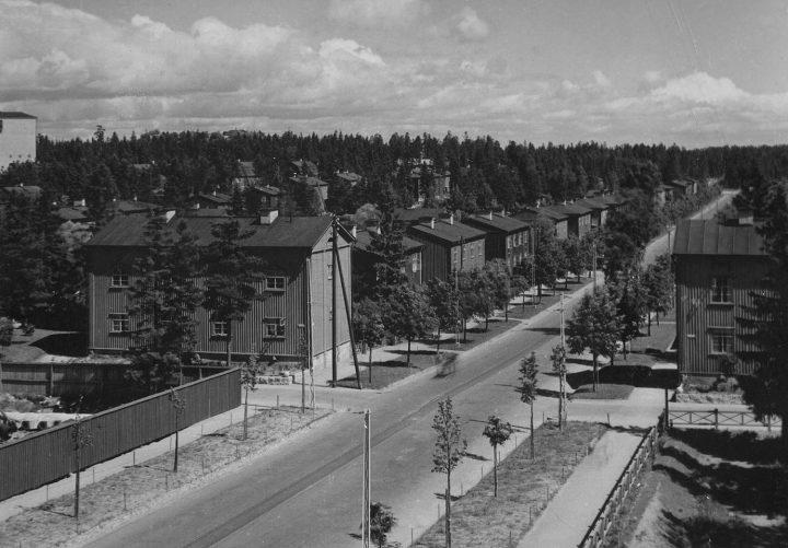 Aerial view of Pohjolankatu street, Puu-Käpylä Wooden House Area