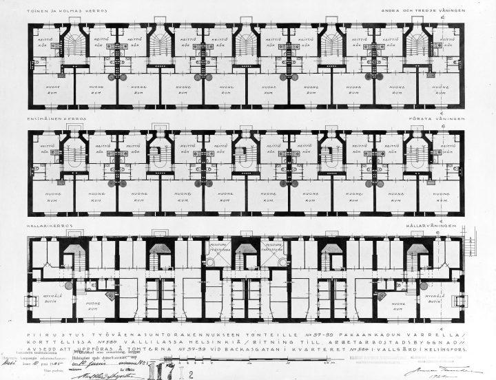 Floorplan for the second and third floors, Mäkelänkatu Street 37-43 Apartment Building