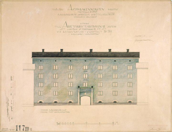 Original drawing by Gunnar Taucher, Mäkelänkatu Street 37-43 Apartment Building
