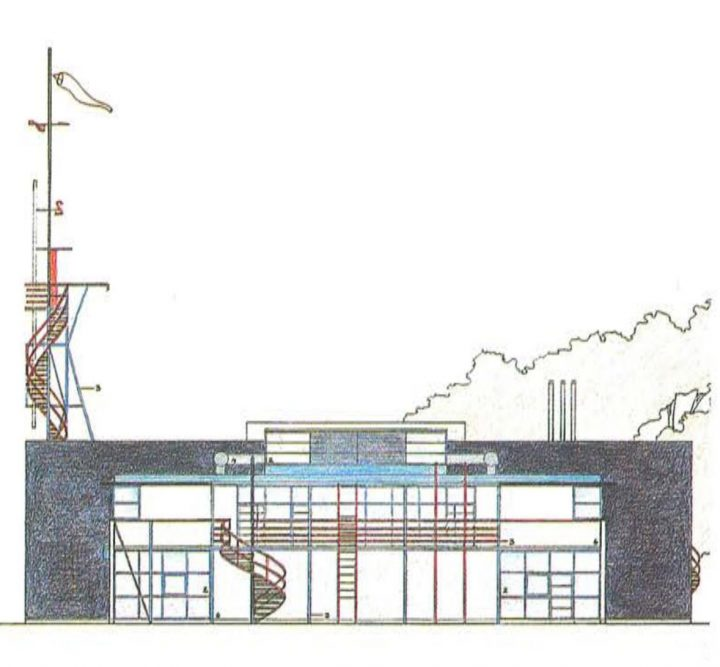 Western elevation plan, Niittykumpu Fire Station