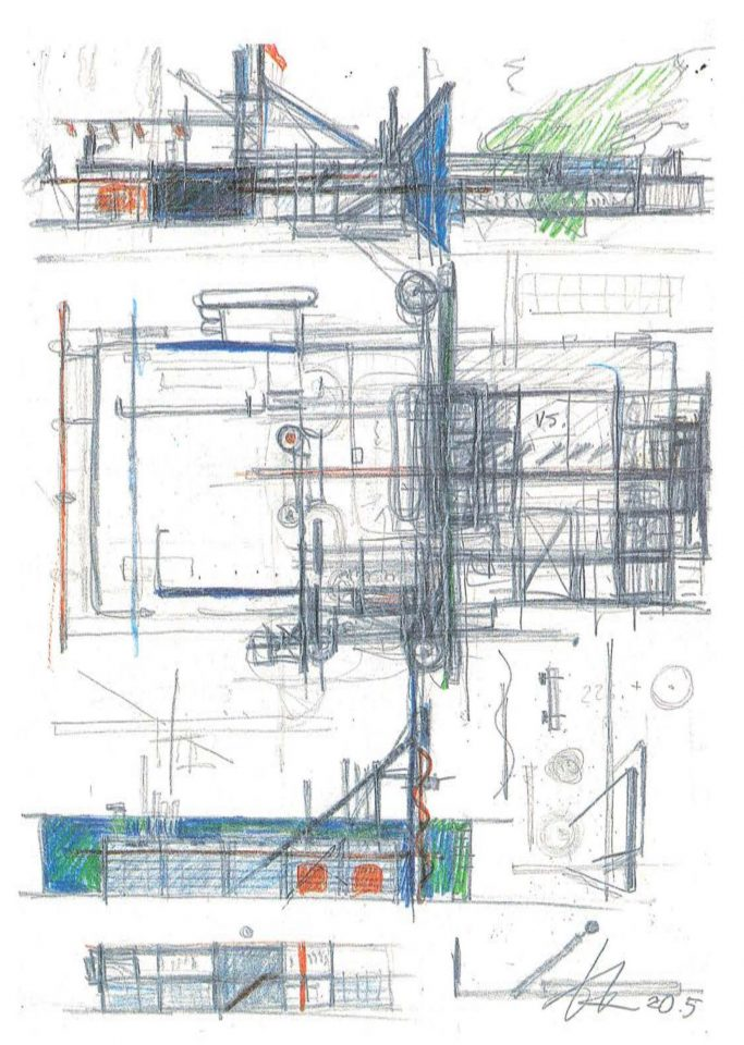 Kristian Gullichsen's sketches, Niittykumpu Fire Station