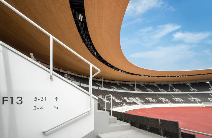 After the 2020 refurbishment and extension of the canopy by K2S Architects, Olympic Stadium