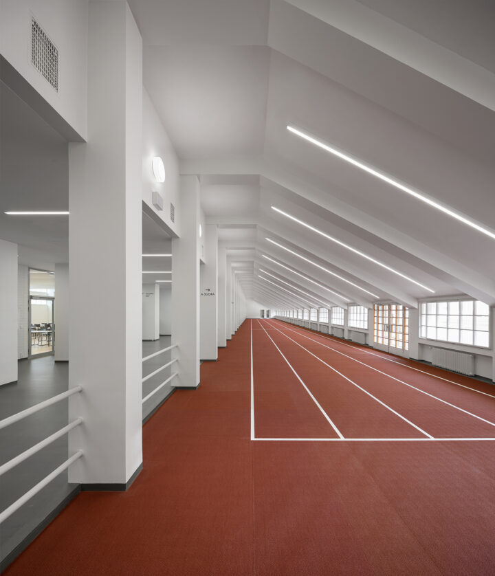 Interior practice track after the 2020 refurbishment by K2S Architects, Olympic Stadium