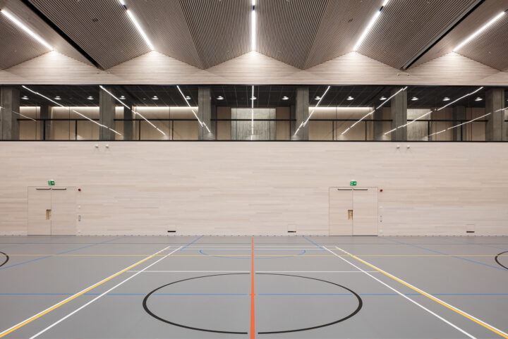 Multipurpose sports hall in the 2020 extension by K2S Architects, Olympic Stadium