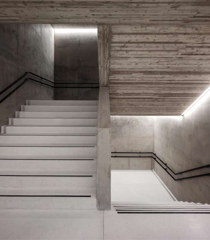 Staircase in the 2020 extension by K2S Architects, Olympic Stadium