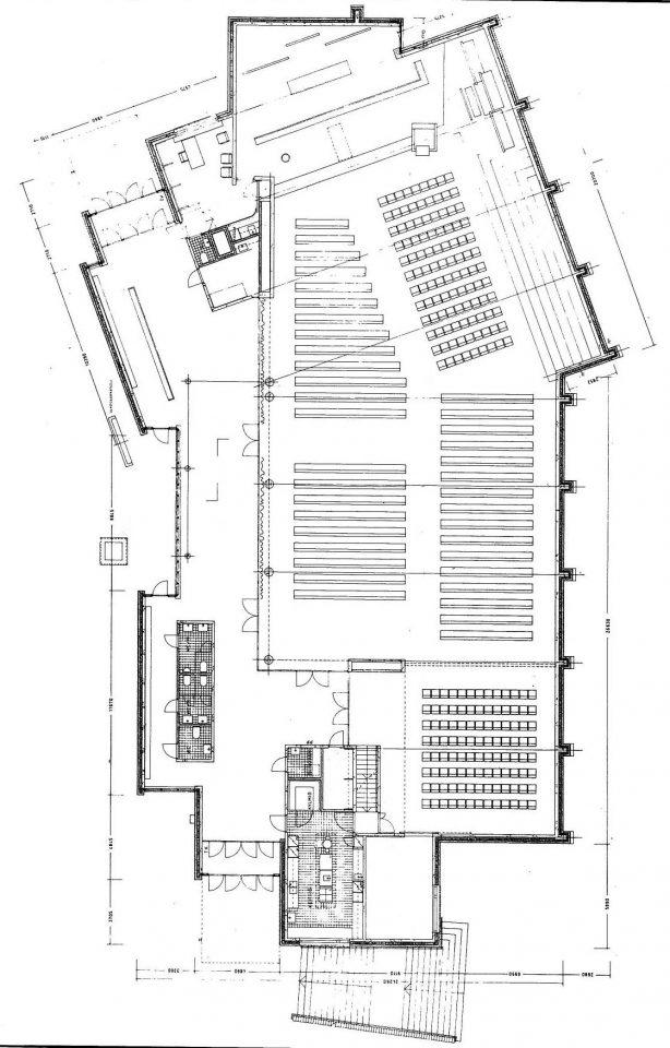 Floor plan of the main assembly hall, Olari Church