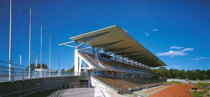 Grand stand seen from the west, Paavo Nurmi Stadium