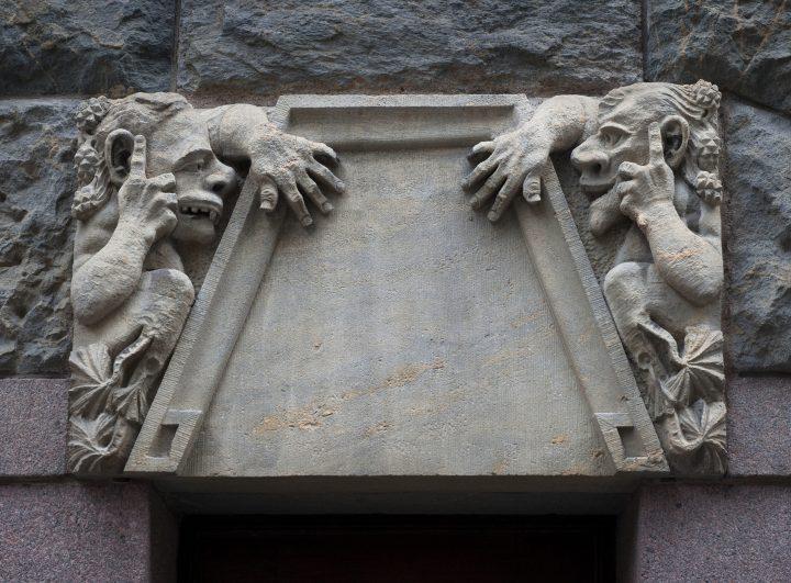 A sculpture on the street façade by Hilda Flodin, Pohjola Insurance Company