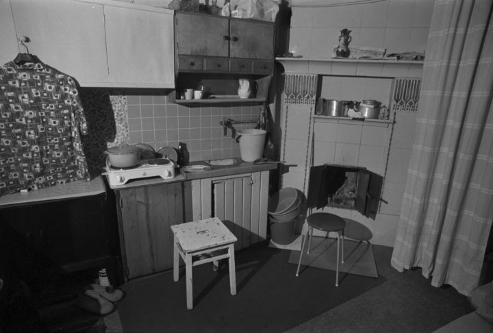 An original kitchen interior in a working class home, Puu-Vallila Wooden House District