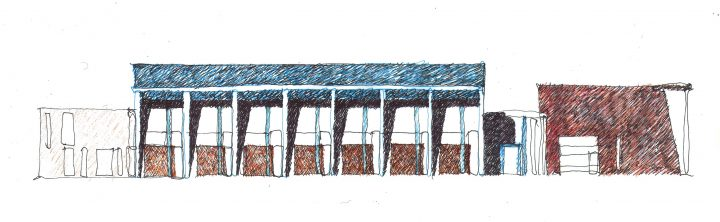Sketch for the competition, Raisio Library and Auditorium