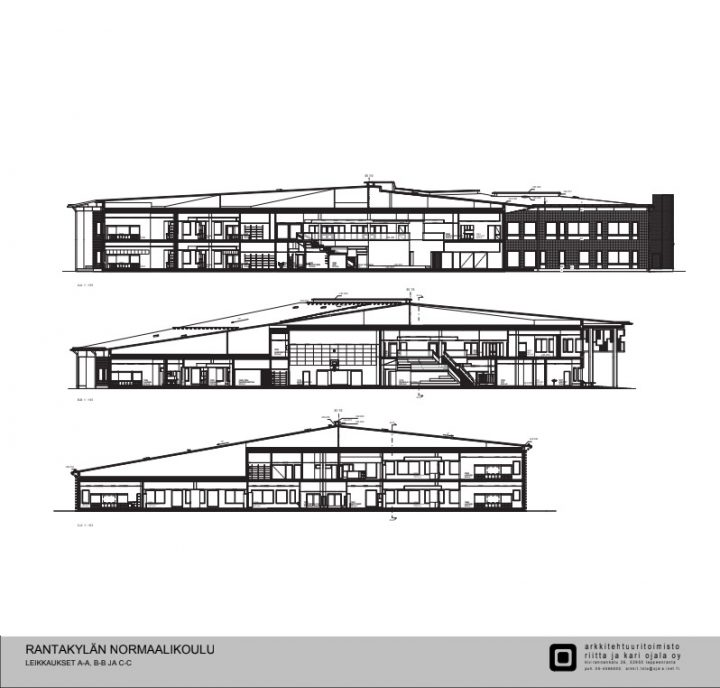 The cross-sectional drawing, Rantakylä Normal School