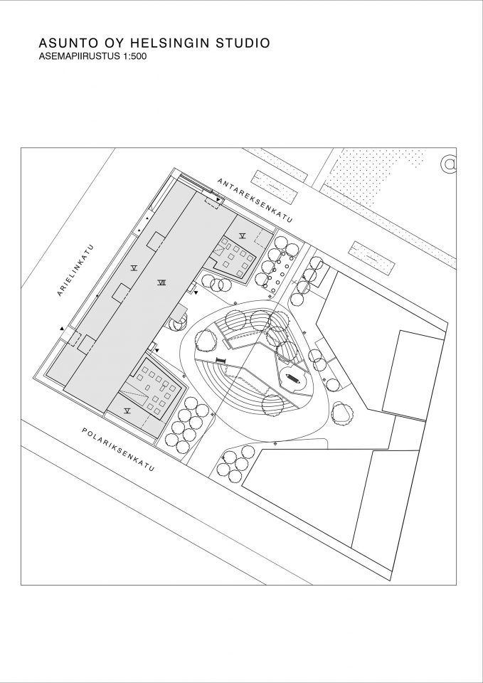 Site plan, Helsingin Studio Housing