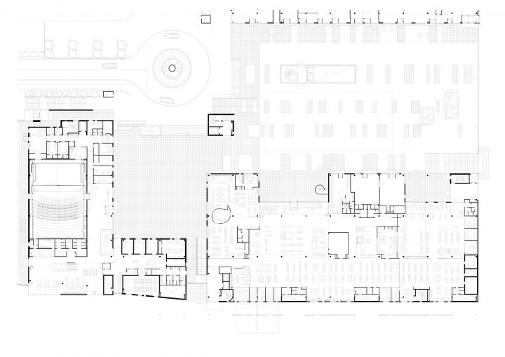 Ground floor plan with the concert hall to the left, Sello Library