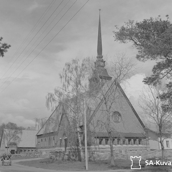St. George Church in 1944, parsonage is seen in the background, St. George Church