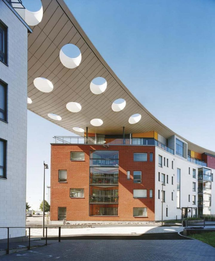 Canopy seen from the courtyard, Stanssi & Svingi Housing
