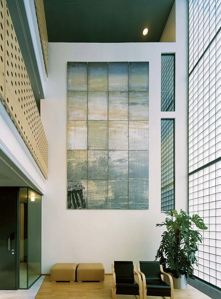 Entrance hall, Tapani Mikkonen's painting 'Hämärän valo', Stockholm Embassy of Finland