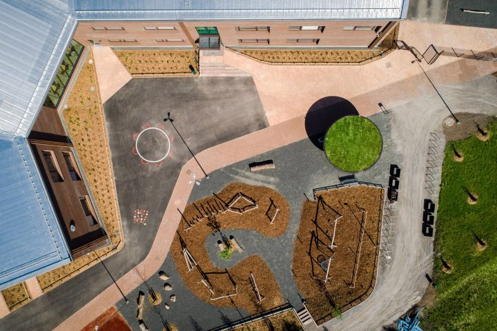 An aerial view, Syvälahti School and Community Centre