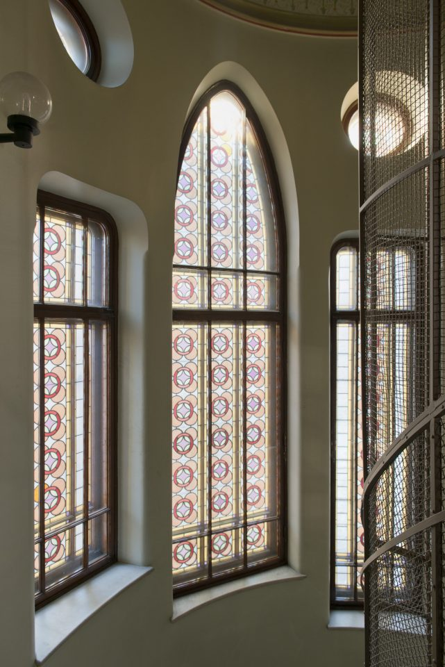 The decorative windows in the staircase photographed in 2019, Tallberg House