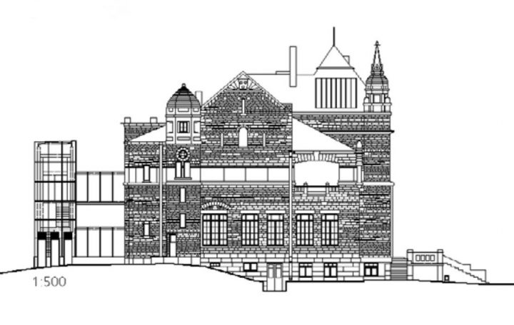 West elevation plan, Turku Art Museum