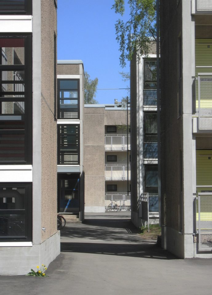 View from the courtyard of one of the housing blocks, University of Turku Student Village