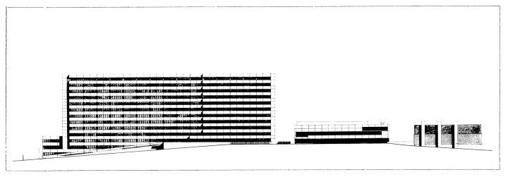 Elevation plan, south, Turku University Hospital, U Building