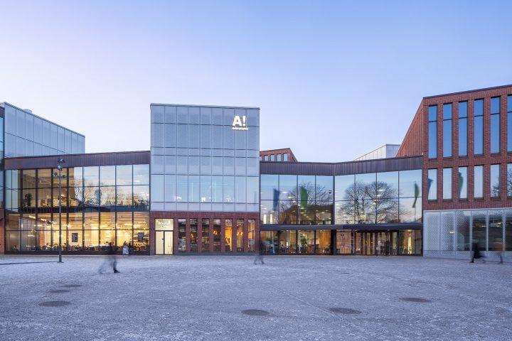 Main entrance, Aalto University Väre Building