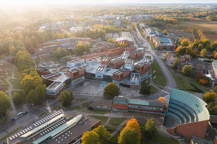 Aerial view from the east, Aalto University Väre Building
