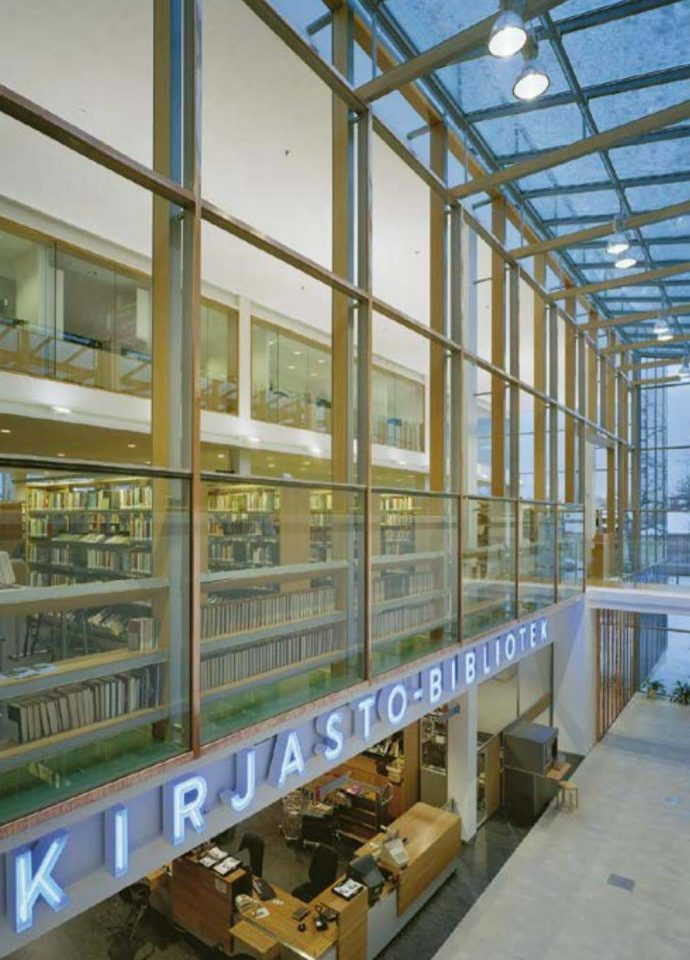Gallery space between the original library and extension, Vaasa City Library