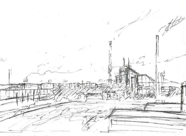 Erkki Kairamo's sketch, Varkaus Paper Mill Additives Processing Unit