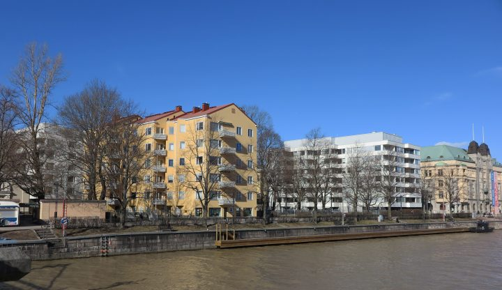 Wilenia photographed from the opposite side of the river Aura, Wilenia Housing