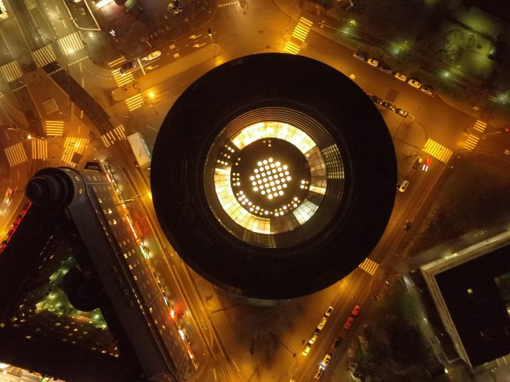 Night time aerial view, Circle House