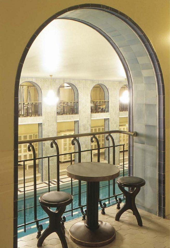 First floor with remade original furniture, Yrjönkatu Swimming Hall