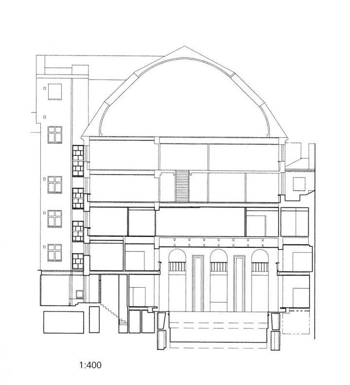 Section plan, Yrjönkatu Swimming Hall