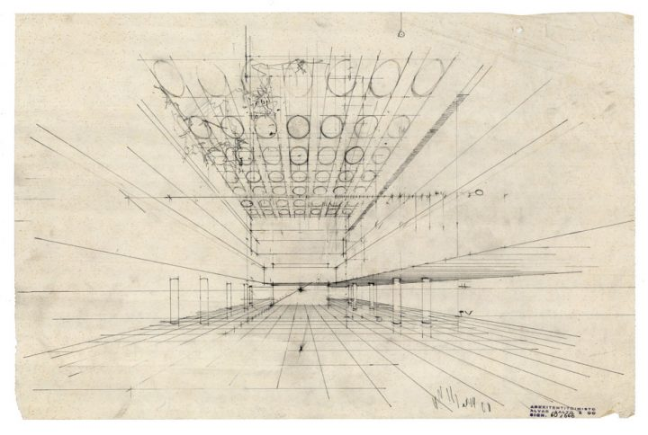 Interior perspective sketch, Iron House