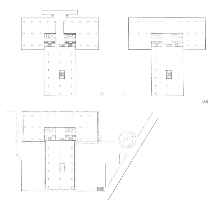 Floor plans of the first floor, ground floor and second floor, Industry House